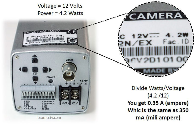 ولتاژ و توان دوربین